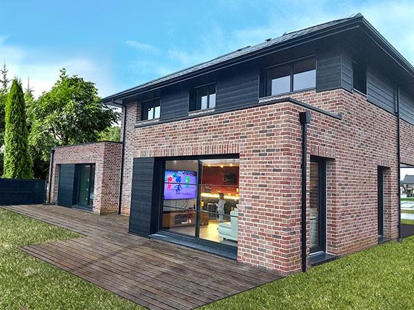 Maison contemporaine en brique et en bois